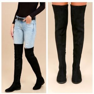 Miu Mui Over the Knee Suede Leather Boots 6.5